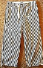 Jones New York Womens White Striped Stretch Capri Pants Cropped Cotton Pants 6