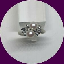 Beautiful Vintage 14k White Gold Pearl & Diamond Ring-Size 8