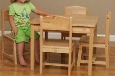 Wooden Children Kids Toddler Preschool Sturdy Birch Wood Table & 4 Chair Set NEW