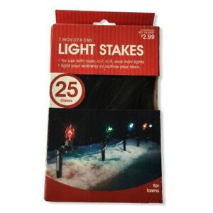 Holiday Light Stake Holder 25pc 7inch Black Plastic Outdoor