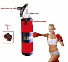 Heavy Duty Wall Mount Boxing Bag Punching Bag w Chains Bracket & Gloves SET NEW