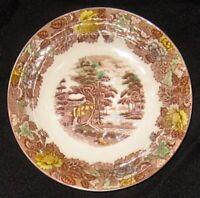 "Nasco Mountain Wood-Land Pattern Soup Bowl 7 1/8"" Japan."