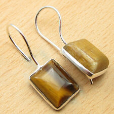 TIGER'S EYE Gemset Silver Plated Jewelry ! Thanksgiving Earrings 1""