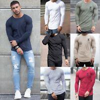 Mens Slim Muscle Fit Gym Designer Plain Long Sleeve T Shirt Curved Hem Top