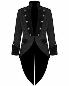 Handmade Women's coat Jacket Black Brocade Goth Steampunk Victorian/Tailcoat