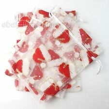 20x Hotsale Christmas Hat Theme Sheer Organza Pouch Wedding Gift Bag 12x15cm ONE