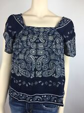 Lucky Brand Top XS Short Sleeve Blue Womens Tunic Blouse Navy Blue
