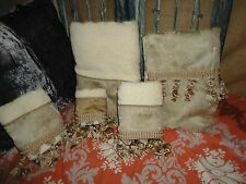 CROSCILL CARLISLE PAISLEY LINEN (5PC) FABRIC SHOWER CURTAIN BATH HAND TOWELS
