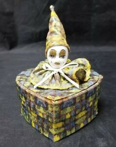 "Vintage Cloth Covered Trinket Box Heart Shaped Porcelain Clown Face Lid 4""×4.5"""