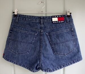 Tommy Hilfiger Jeans Womens Juniors 11 Flag Denim Shorts Spellout Flag Stripes