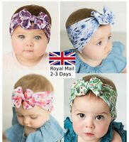 Baby Girls Bow Bun Turban Headband Hair band Head Wrap Cute Kids Floral Stretch