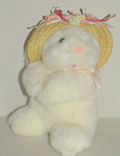 "Walmart White Rabbit Plush Easter NWT 10"" Straw Hat w/hang tag"