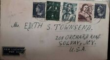 J) 1945 NETHERLAND, QUEEN WILHELMAN, MULTIPLE STAMPS, AIRMAIL, CIRCULATED COVER,