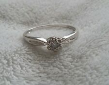 9 Carat White Gold Diamond Solitaire Ring with Hearts & Star Design