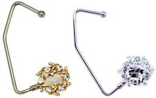 PURSE HOOK: Flower Knot Hand Bag Hanger Diamond Wreath Crystal GOLD / SILVER