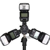 Triple 3 Head Hot Shoe Mount 3-in-1 Adapter Speedlite Flash Light Holder Bracket