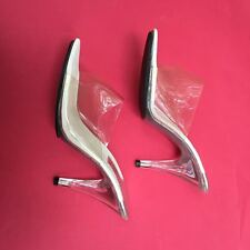 VTG 70s Mules High Heel Shoes Clear LUCITE/PLASTIC HEELS  9
