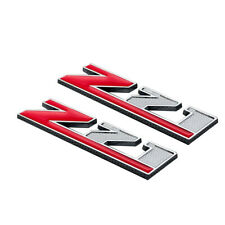 2Pcs Silver/Red Metal Z71 Emblem Red Coated Badge 3D Decal for Silverado Tahoe