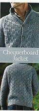 """#251 MENS CHUNKY CHEQUERBOARD JACKET CARDIGAN 38-52"""" VINTAGE KNITTING PATTERN"""