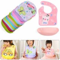 Washable Saliva Towel Pick Rice Pocket Kids Apron Feeding Baby Silicone Bibs