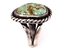 Vntg. Old Navajo Sterling S Ring/Sz. 8/Persian Mine? Lite Green Turquoise/7.6 g