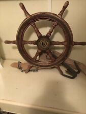 Authentic 24� Antique Vintage Nautical Ship's Wheel Wood Bronze Maritime Boat