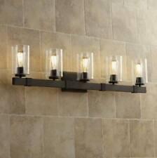 """Rustic Industrial Wall Light Wood Grain Bronze 34/"""" 4-Light Fixture Vanity Mirror"""