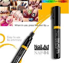 Yellow Nail Art Pen Painting Design Tool DIY Dot Drawing UV Gel Polish Manicure