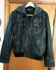 Men's Black Leather Jacket Bomber Style Size Medium by Black Rivet / G3 Apparel
