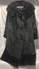 Vintage Women's L CRUSHED VELVET Black Winter Coat With Fur Collar Retro MCM