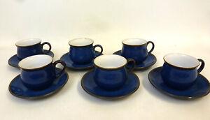 Denby Imperial Blue Espresso Cups & Saucers x6