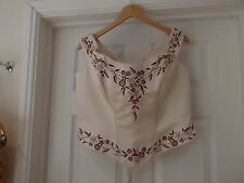 ROMANTICA Corset Top Bridal Wear in Ivory/Champagne/Red Lace Up UK Size 20