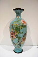 "Antique Large 12"" Oriental Japanese Cloisonne Enamel Vase"