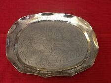 Beautiful Engraved Brass Tray With Feet.