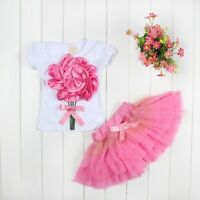 Toddler Girls 3D Fabric Rose Flower Short Sleeve Top Tee & Skirt 2pc SET Size 3