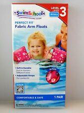 Girls Swim School 1 Pair Pink Soft Fabric Arm Floats Floaties Level 3 30-50 Lbs.