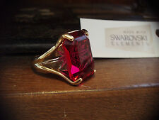 Ruby Red Crystal Gold Ring With Star Made with Swarovski Elements