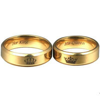 EE_ His Queen and Her King Titanium Steel Couple Ring Romantic Gift Jewelry Drea
