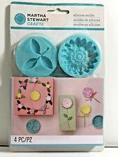Martha Stewart Crafts Silicone Molds FLOWERS & LEAF Set of 4 NEW Cards Scrapbook