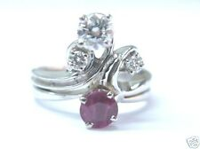 Natural Ruby Diamond Cocktail Solid White Gold Jewelry Ring 14Kt 1.01Ct Sizeable