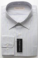Size 17.5 36-37 White Blue Stripes Long Sleeve Reg Fit 100% Cotton Dress Shirt