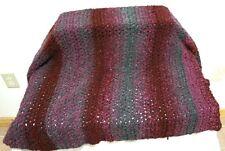 "Blanket Hand Crocheted Maroon Gray Lap 58 x 34"" Personal Chair Throw Afghan Kni"