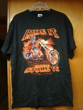 Vintage New Nos Mens Black Delta Ride It Like You Stole It Tee Shirt Size Large