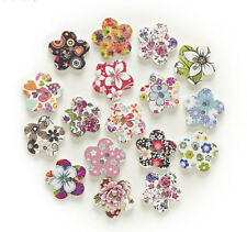 """Lot of 10 FLOWER 2-hole White Wood Buttons 11/16"""" (17mm) Scrapbook Craft (71336)"""