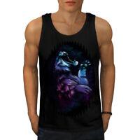 Wellcoda Night Tiger Beast Mens Tank Top, Animal Active Sports Shirt