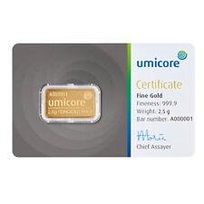 2,5 Gramm Goldbarren Gold 999,9 Feingold Barren Umicore / Valcambi