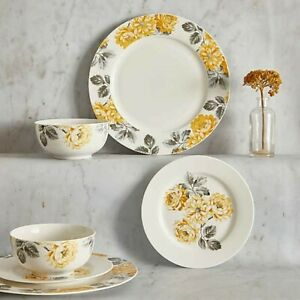Yellow Floral 12 Piece Fine China Dinner Set Plates Bowls Tableware