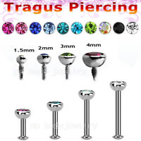 "2pcs 16g~1/4"" 5/16"" Surgical Steel InternallyThreaded Labret CZ Cartilage Tragus"