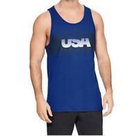 NWT$40 Men's Under armour HeatGear Hut 1 Tank Top 2 Tone Blue Sleeveless Shirt