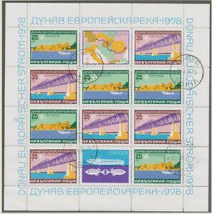 BULGARIEN 1978 Kleinbogen Donauschiffahrt (Europäische Donaukommission), ABARTEN